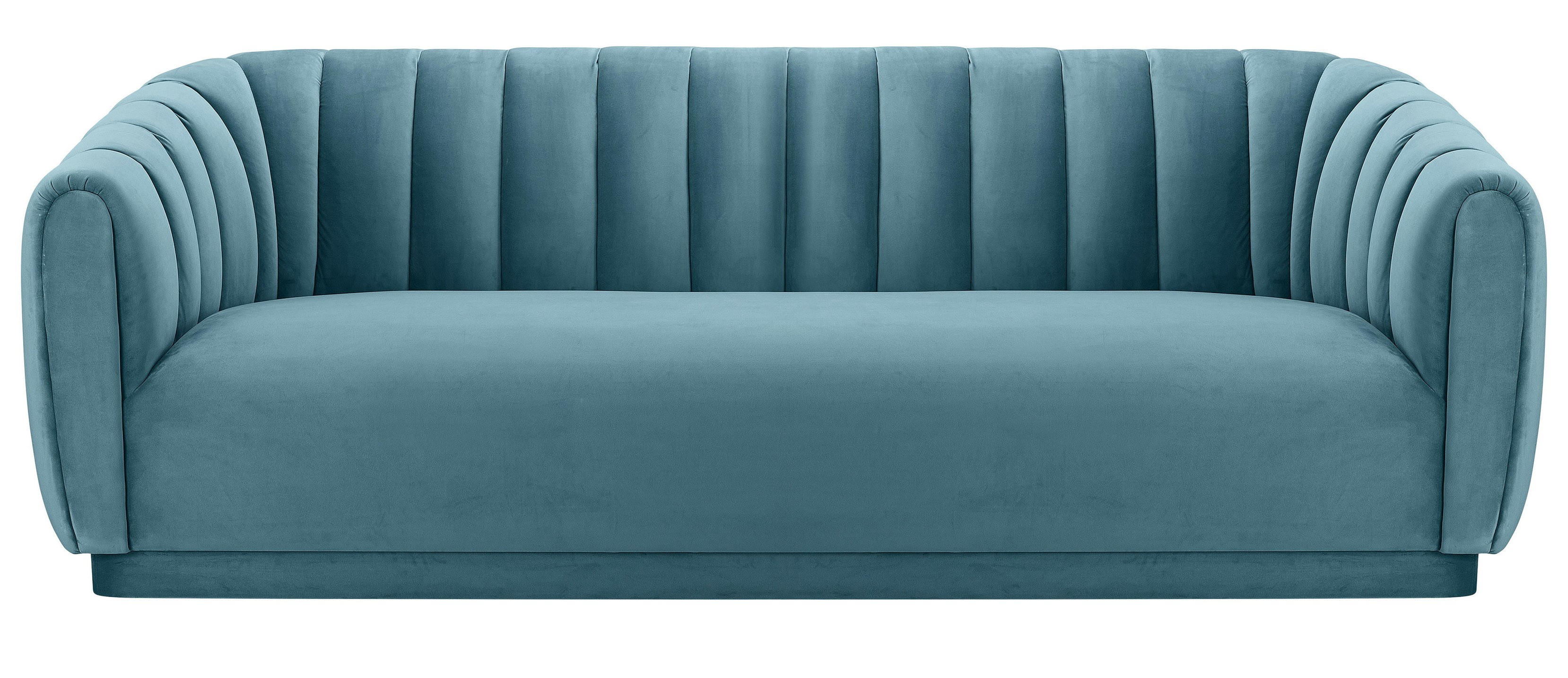 Marissa Velvet Sofa, Sea Blue With Marissa Sofa Chairs (Photo 11 of 20)