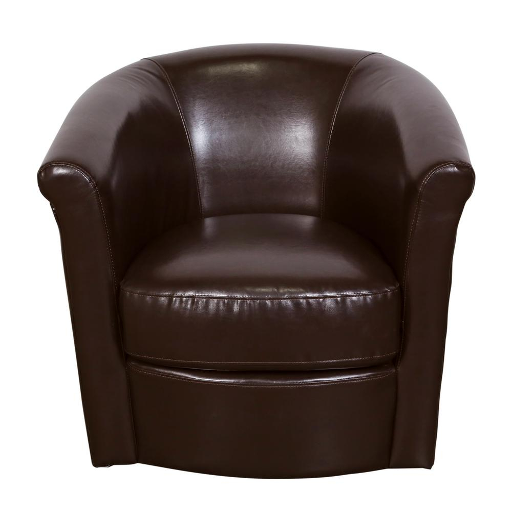 Marvel Chocolate Contemporary Leather Look Swivel Accent Chair 01 Regarding Chocolate Brown Leather Tufted Swivel Chairs (View 13 of 20)