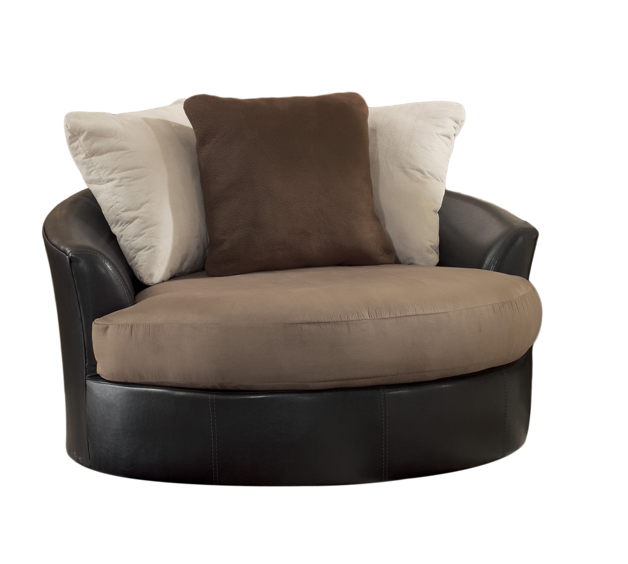 Masoli Mocha Faux Leather Fabric Oversized Swivel Accent Chair | The With Regard To Loft Black Swivel Accent Chairs (View 11 of 20)