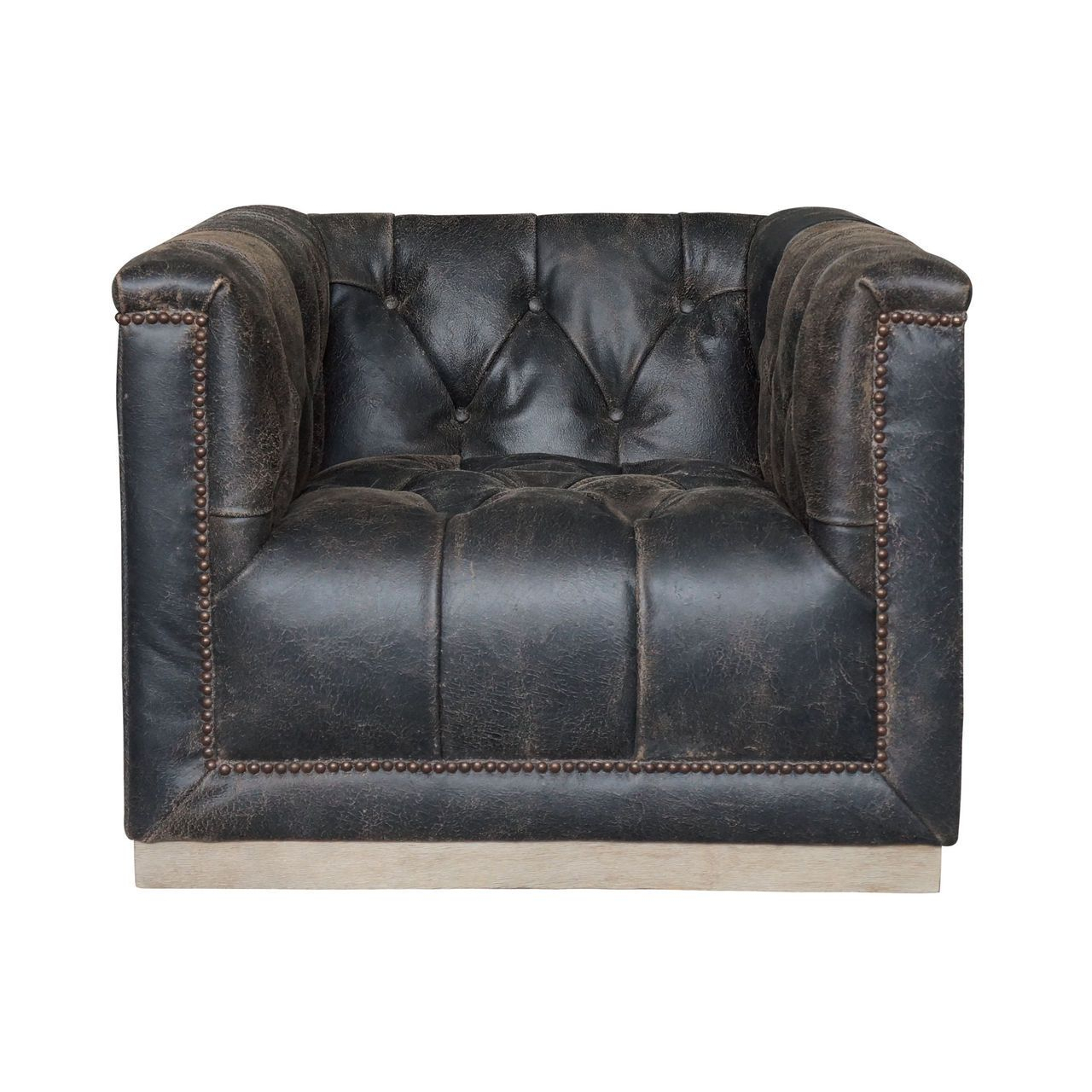 Maxx Distressed Black Leather Swivel Club Chair | Interior Ideas Throughout Loft Smokey Swivel Accent Chairs (Image 14 of 20)