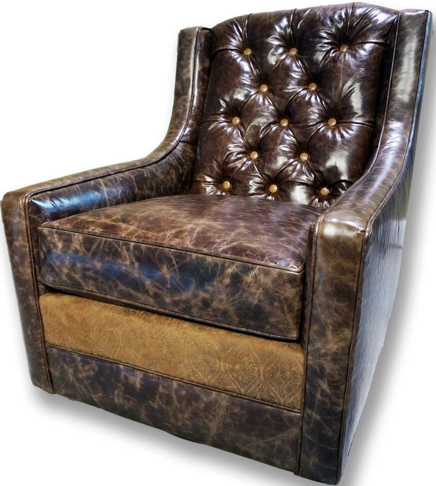 Medina Tufted Swivel Glider Western Accent Chairs – Distressed Inside Chocolate Brown Leather Tufted Swivel Chairs (View 6 of 20)