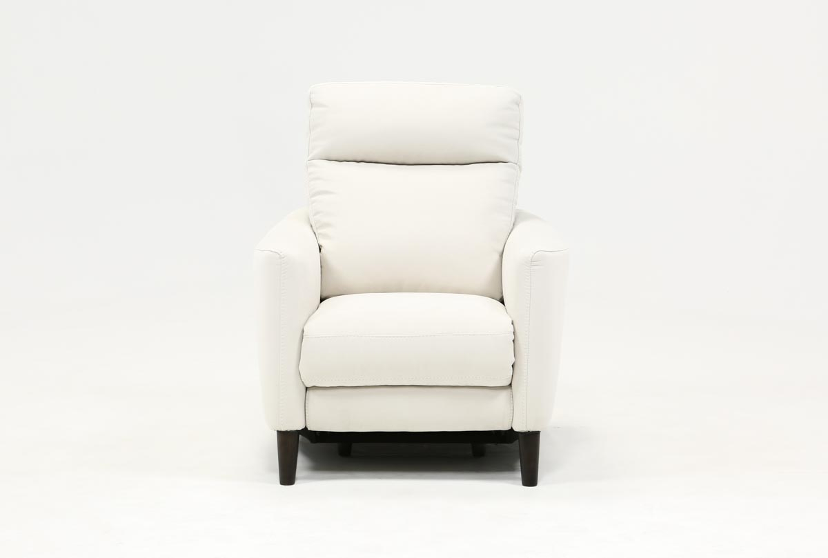 Melina Bisque Power Recliner W/usb | Living Spaces Intended For Bailey Roll Arm Skirted Swivel Gliders (Image 15 of 20)