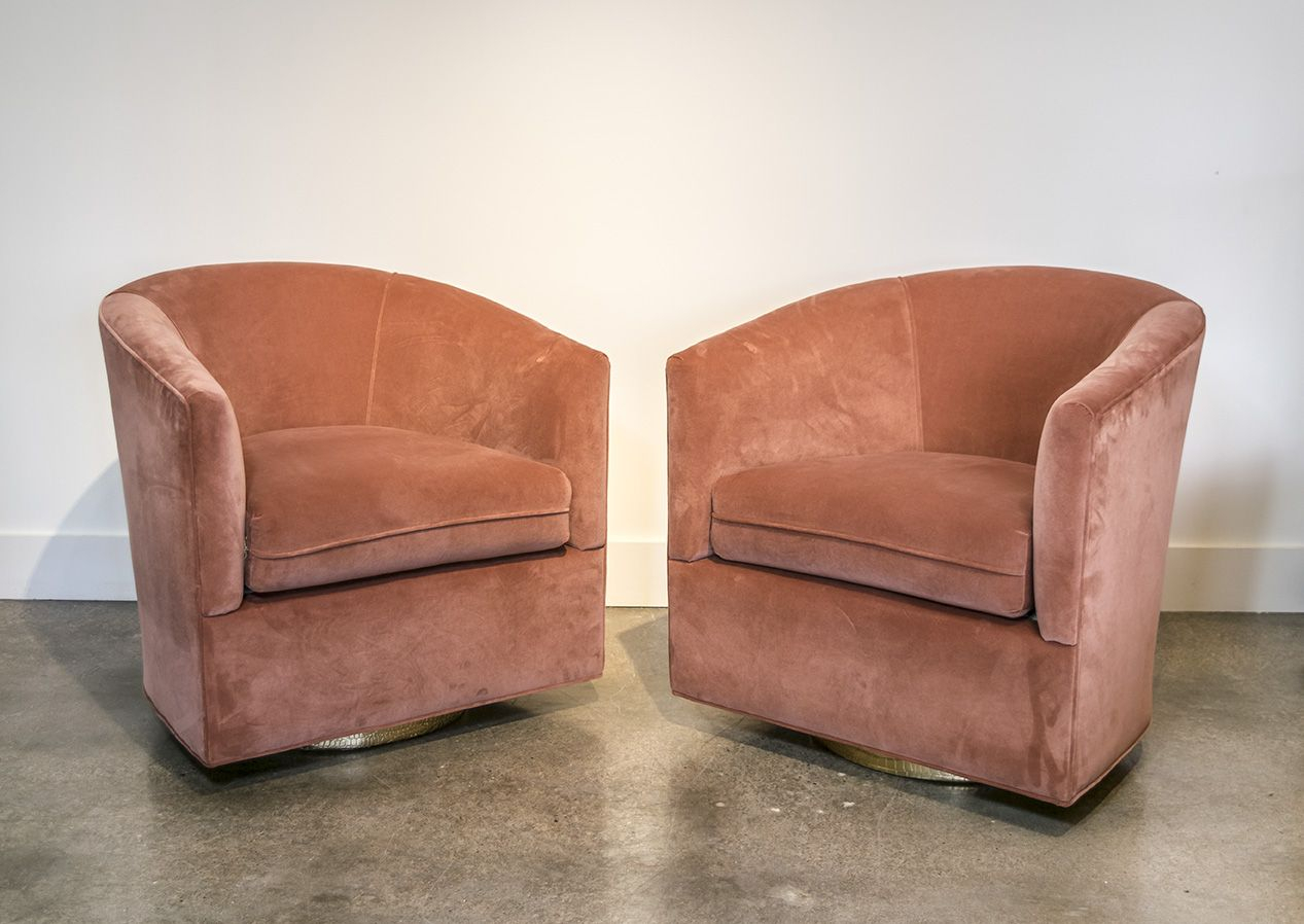 Milo Baughman Salmon Velvet Swivel Chairs With Gold Bases | Lynn With Regard To Bailey Roll Arm Skirted Swivel Gliders (Photo 12 of 20)