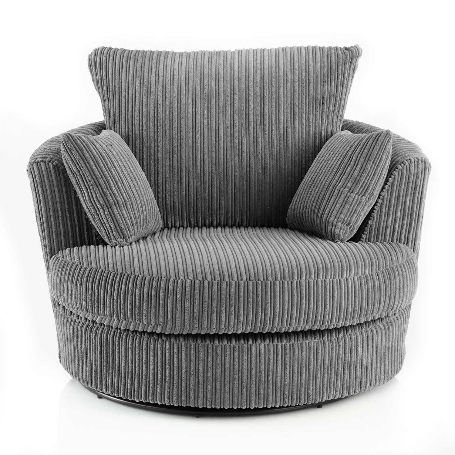 Miranda Swivel Cuddle Chair Fabric Leather Armchair Jumbo Cord Grey Pertaining To Grey Swivel Chairs (View 13 of 20)
