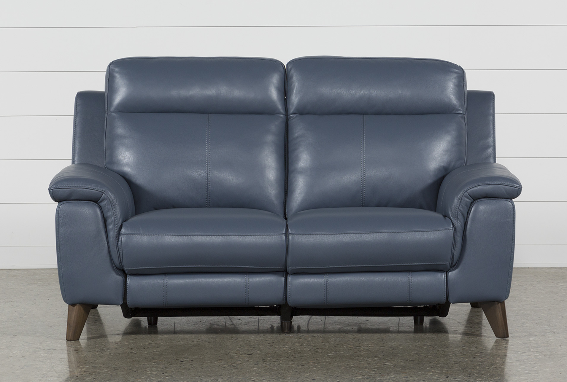 Moana Blue Leather Dual Power Reclining Loveseat With Usb In 2018 With Moana Blue Leather Power Reclining Sofa Chairs With Usb (View 3 of 20)