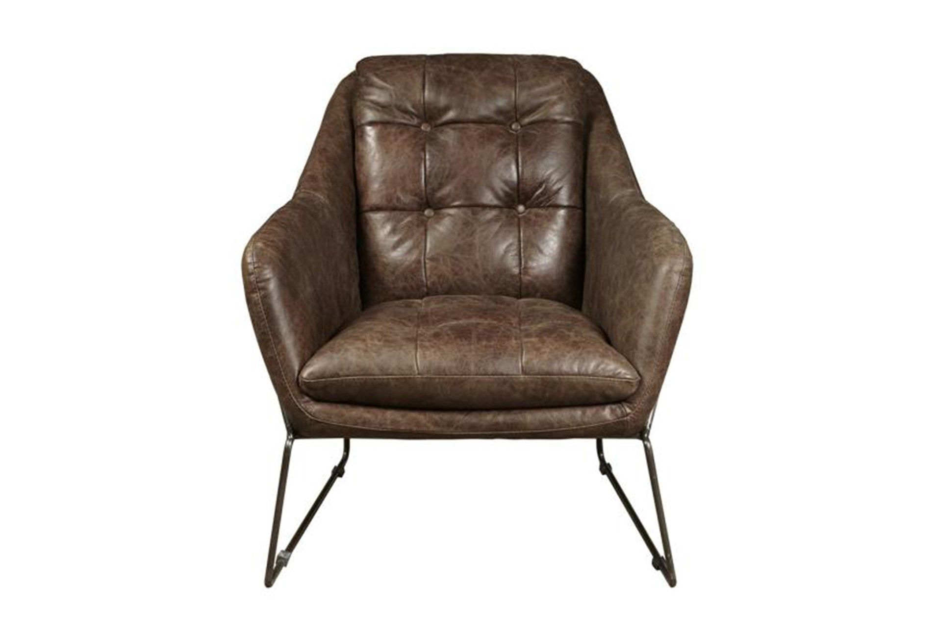 Mocha Leather & Metal Accent Chair, Brown | Metal Accents, Metals Within Harbor Grey Swivel Accent Chairs (Image 15 of 20)
