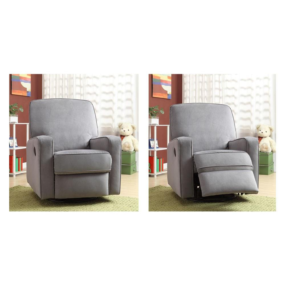 Modern – Gray – Fabric – Chairs – Living Room Furniture – The Home Depot Throughout Decker Ii Fabric Swivel Glider Recliners (Photo 19 of 20)