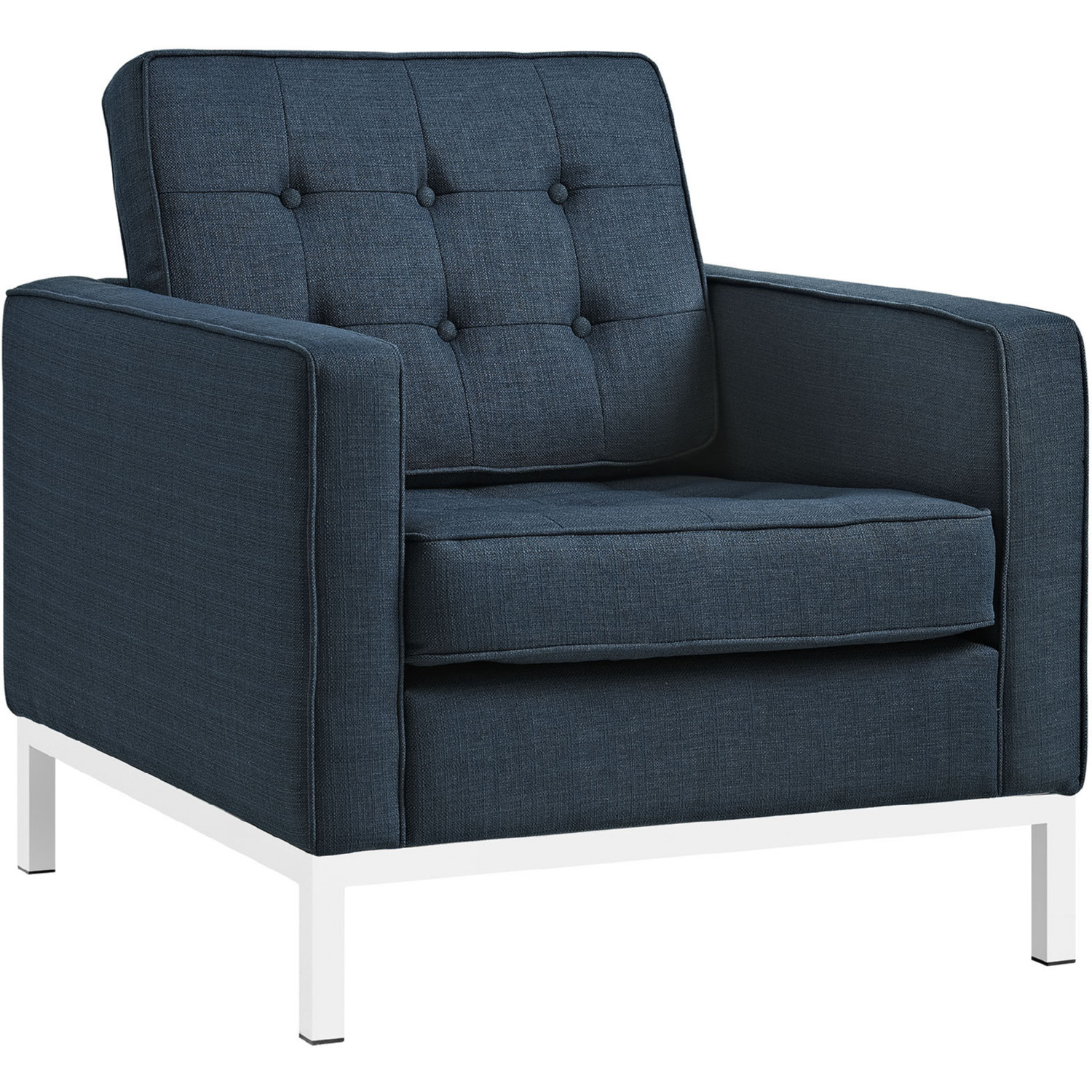 Modway Eei 2440 Azu Set Loft Arm Chair In Tufted Azure Fabric On For Loft Arm Sofa Chairs (Photo 15 of 20)