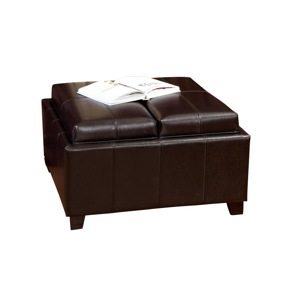 Noble House Mansfield Espresso Bonded Leather Tray Top Storage With Regard To Mansfield Cocoa Leather Sofa Chairs (Image 16 of 20)