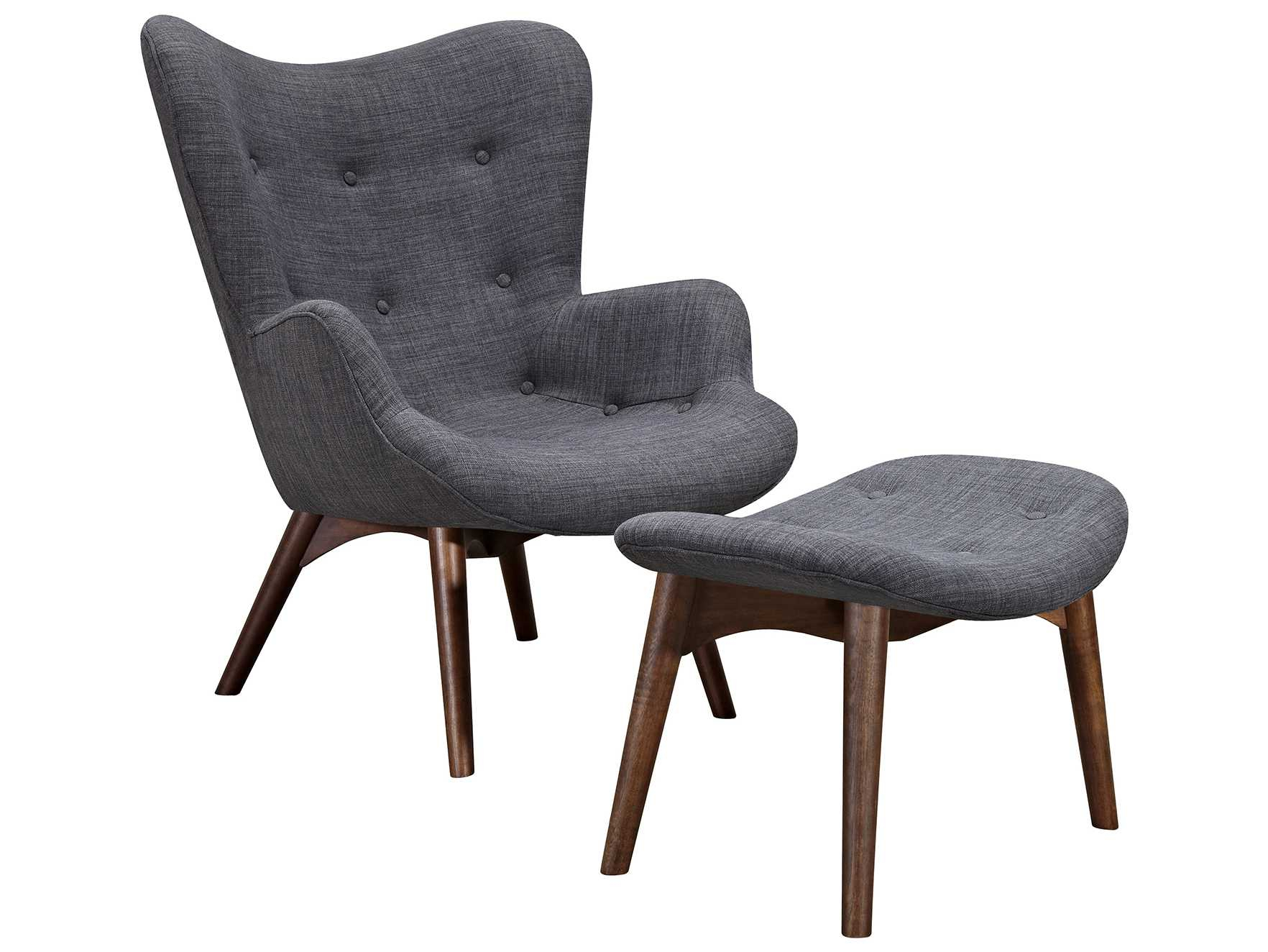 Nyekoncept Aiden Charcoal Gray Accent Chair & Ottoman With Walnut With Regard To Aidan Ii Swivel Accent Chairs (Image 14 of 20)