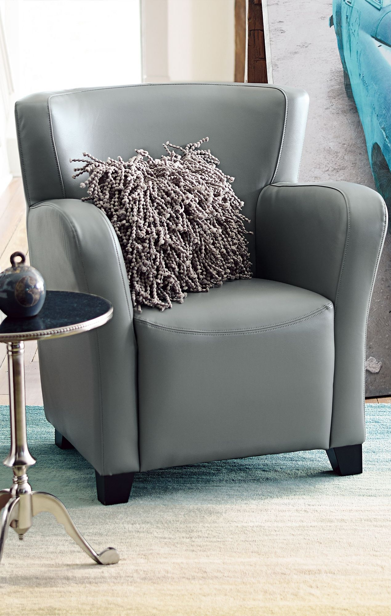 Our Oxford Leather Chair Sports A Space Friendly Design With Throughout Grandin Leather Sofa Chairs (Image 16 of 20)