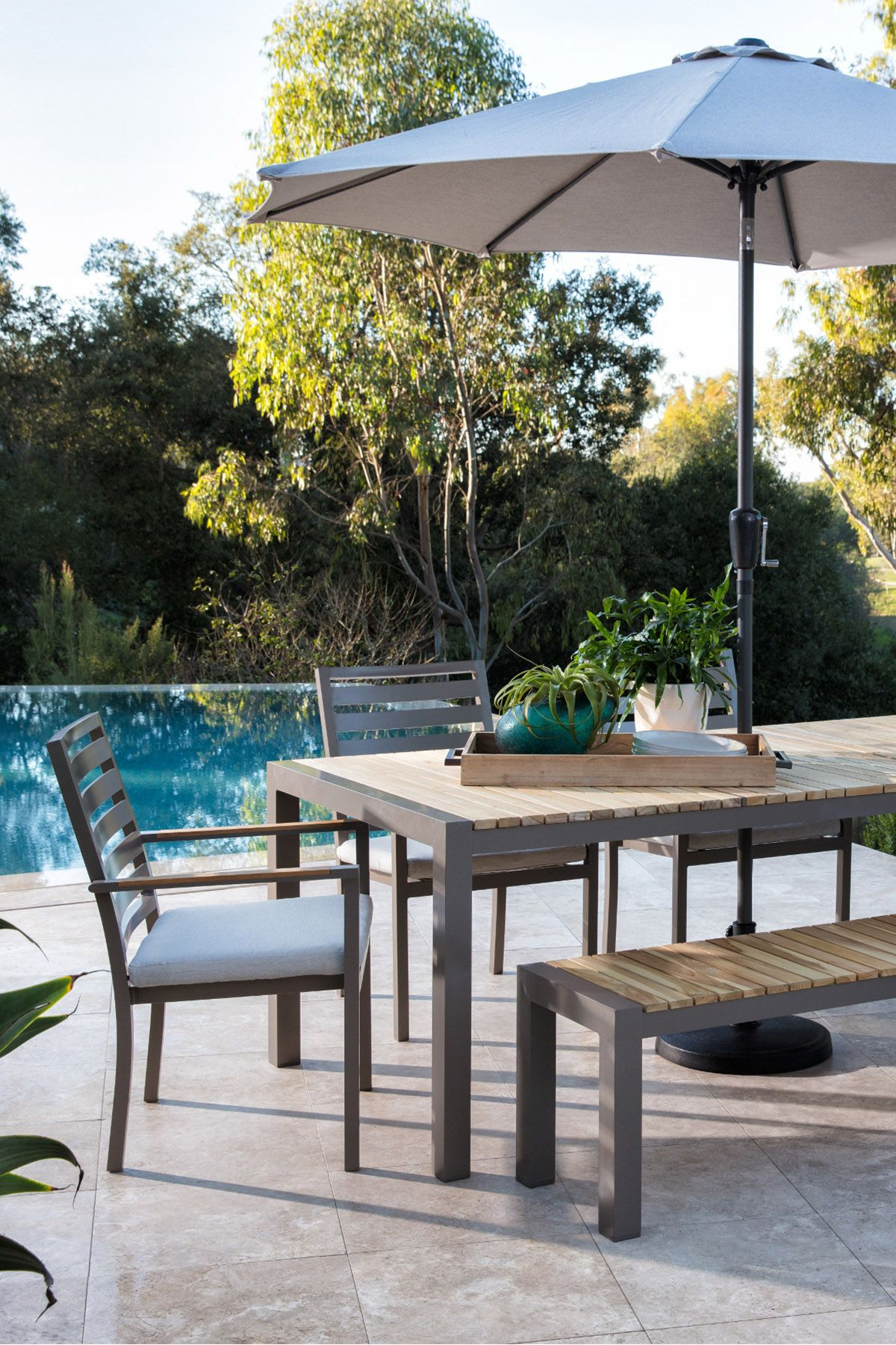 Outdoor Brasilia Teak Dining Table With 4 Chairs And 1 Bench In 2018 Throughout Outdoor Koro Swivel Chairs (View 18 of 20)