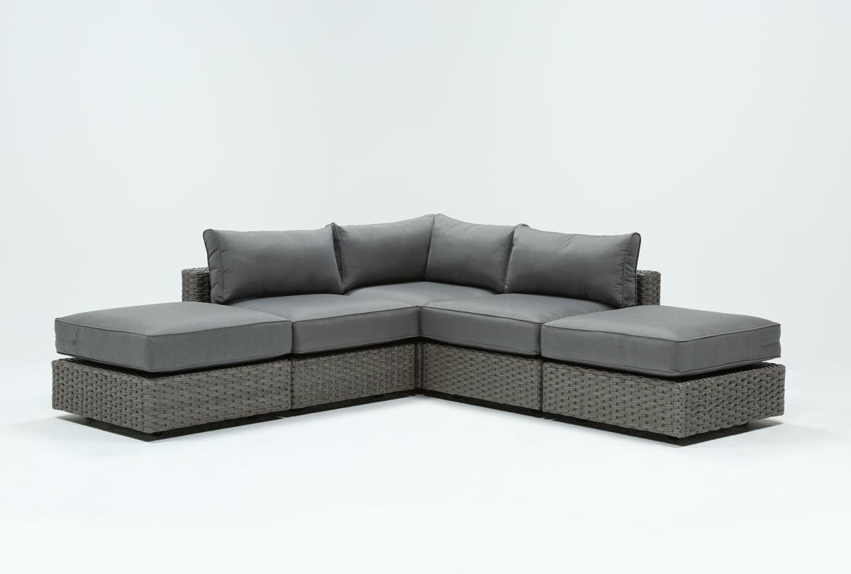 Outdoor Koro 5 Piece Sectional W/2 Ottomans | Living Spaces With Regard To Outdoor Koro Swivel Chairs (View 6 of 20)