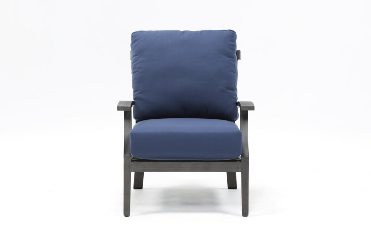 Outdoor Martinique Navy Lounge Chair | Living Spaces Regarding Outdoor Koro Swivel Chairs (View 15 of 20)
