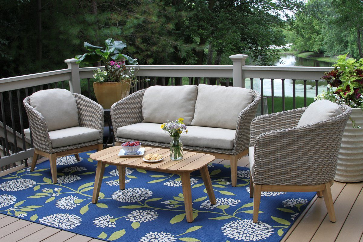 Patterson 4 Piece Teak Sofa Set With Cushions | Backyard | Pinterest With Regard To Patterson Ii Arm Sofa Chairs (Image 10 of 20)