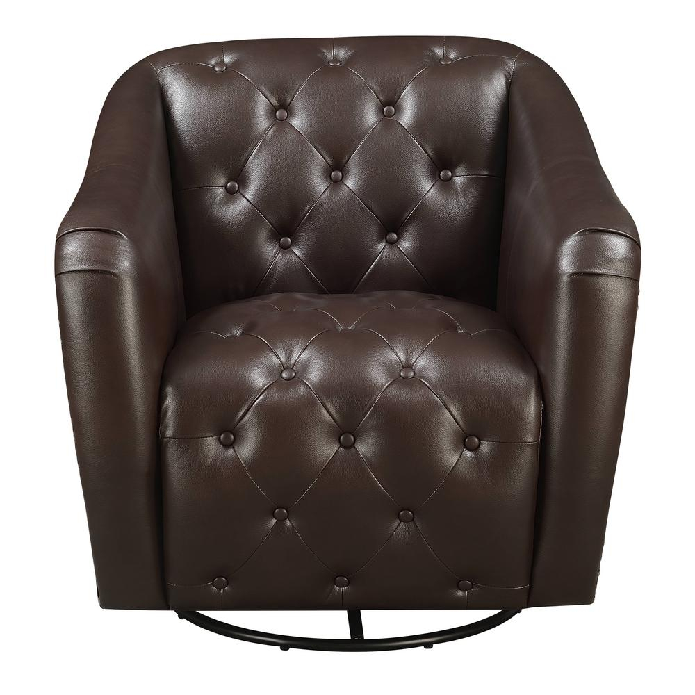 Featured Image of Chocolate Brown Leather Tufted Swivel Chairs