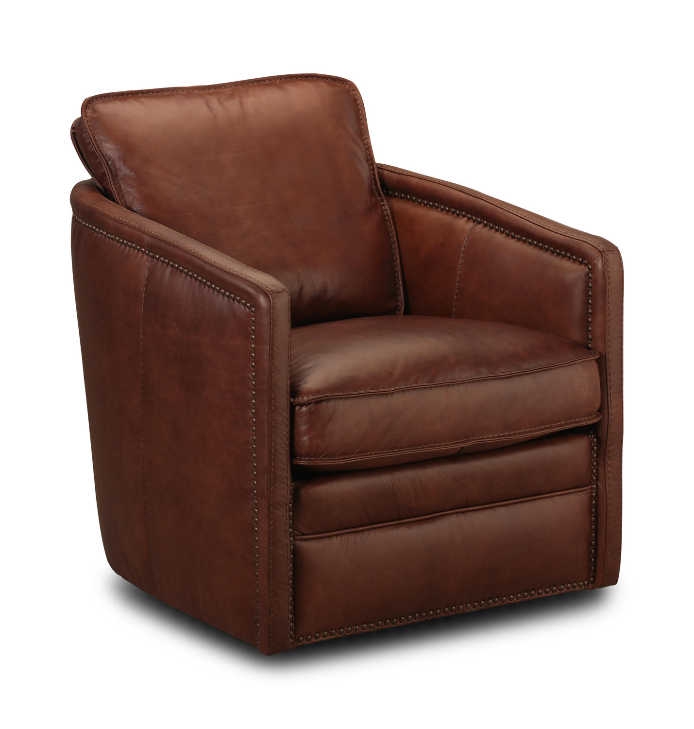 Pivot Leather Swivel Chairthomas Cole | Hom Furniture In Swivel Tobacco Leather Chairs (Image 12 of 20)