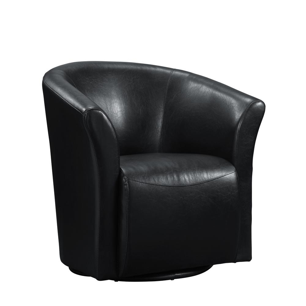 Radford Black Swivel Chair Urt892100Swca – The Home Depot Throughout Leather Black Swivel Chairs (Image 13 of 20)