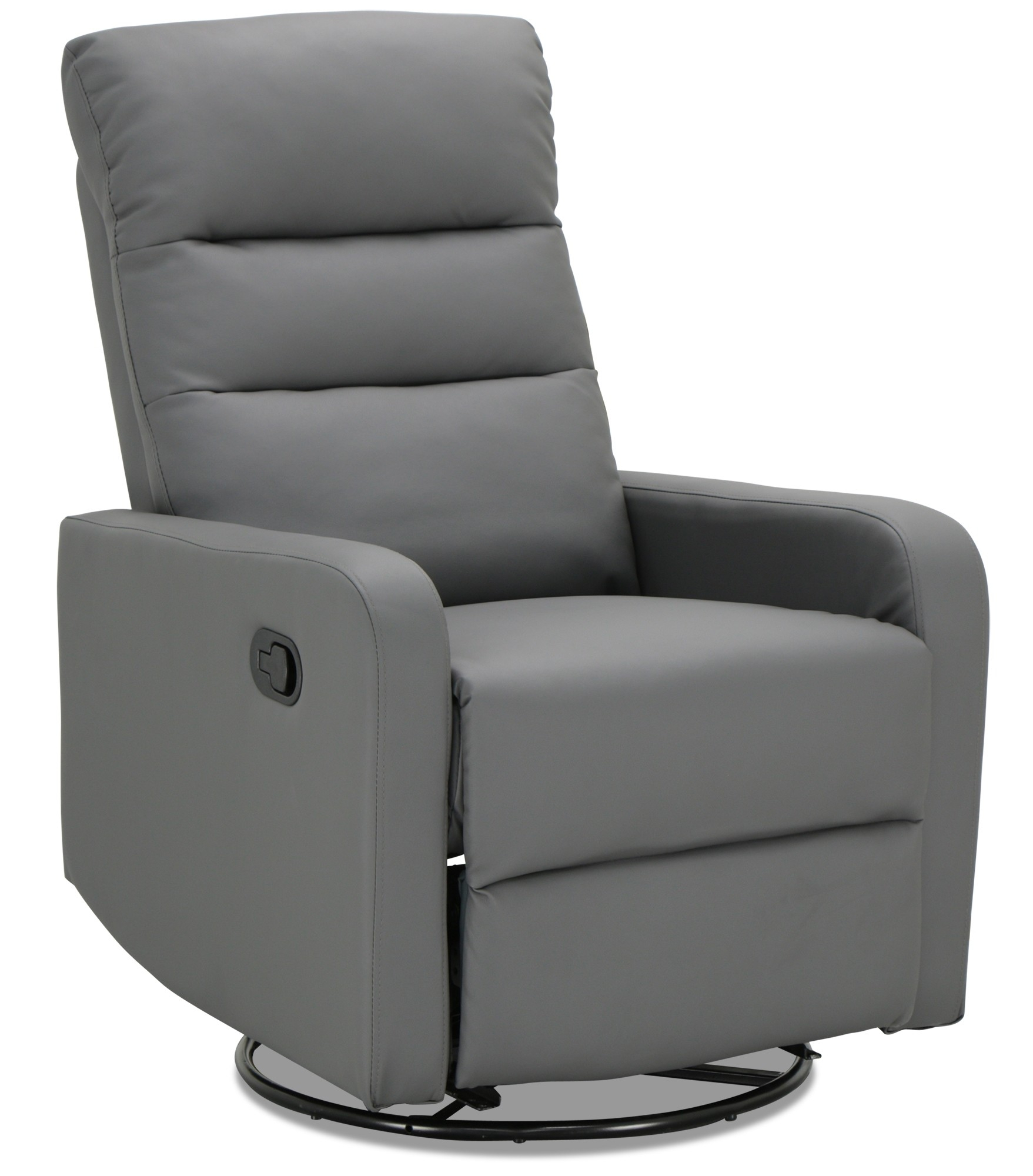 Rasco Recliner With Swivel In Pu Dark Grey | Furniture & Home Décor Intended For Dark Grey Swivel Chairs (Image 18 of 20)