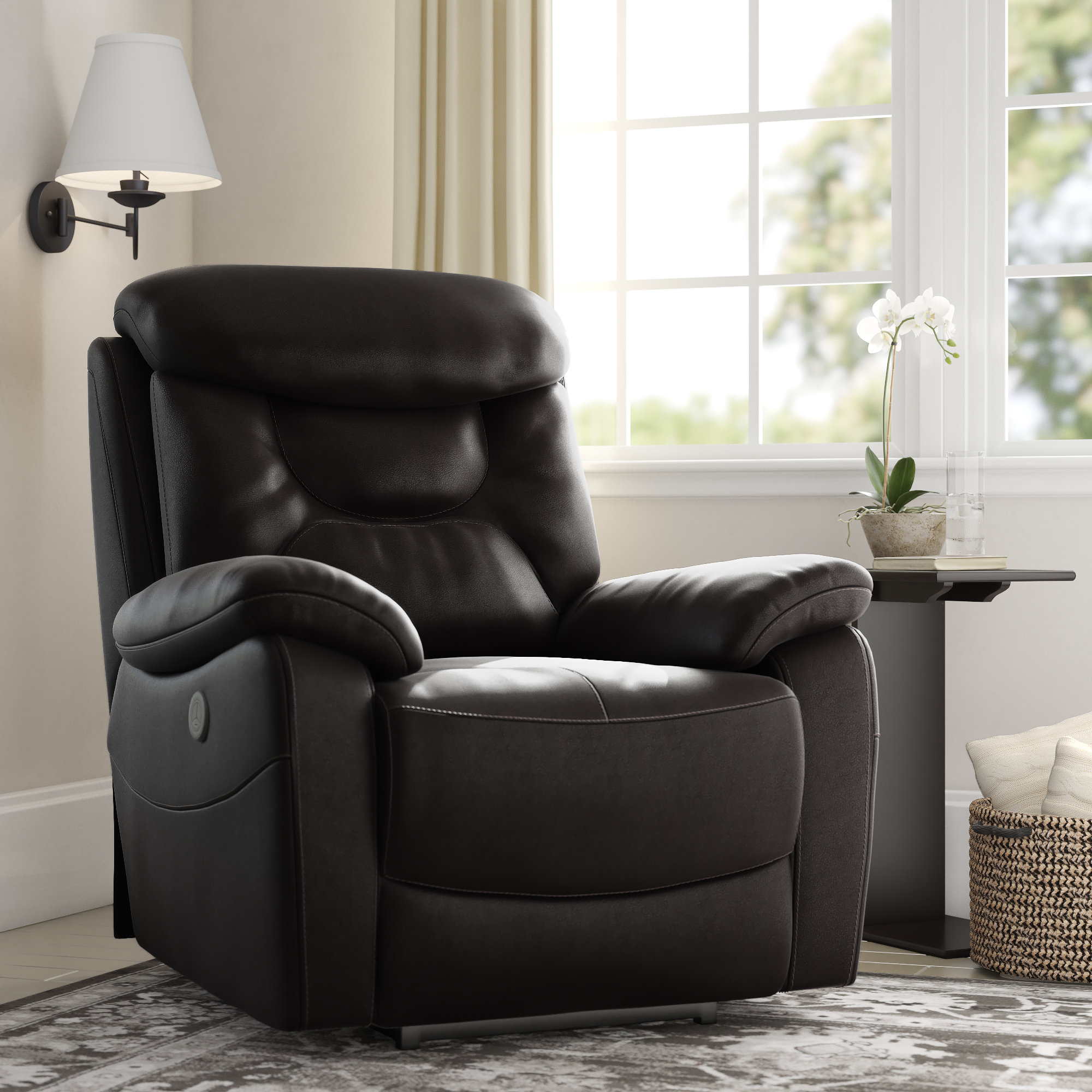 Red Barrel Studio Oh Leather Power Recliner & Reviews | Wayfair For Cohen Foam Oversized Sofa Chairs (View 15 of 20)