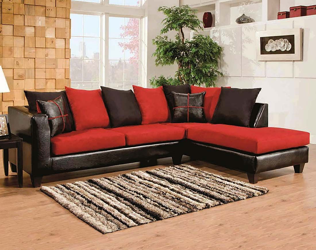 Red, Black Couch, Microfiber | Sierra Cardinal 2 Piece Sectional Regarding Sierra Foam Ii Oversized Sofa Chairs (Image 7 of 20)