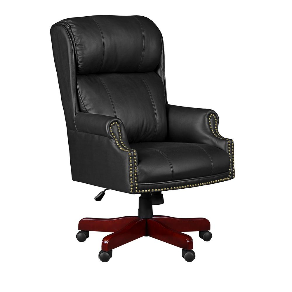 Regency Barrington Black Swivel Chair 9099Lbk – The Home Depot In Leather Black Swivel Chairs (Image 14 of 20)