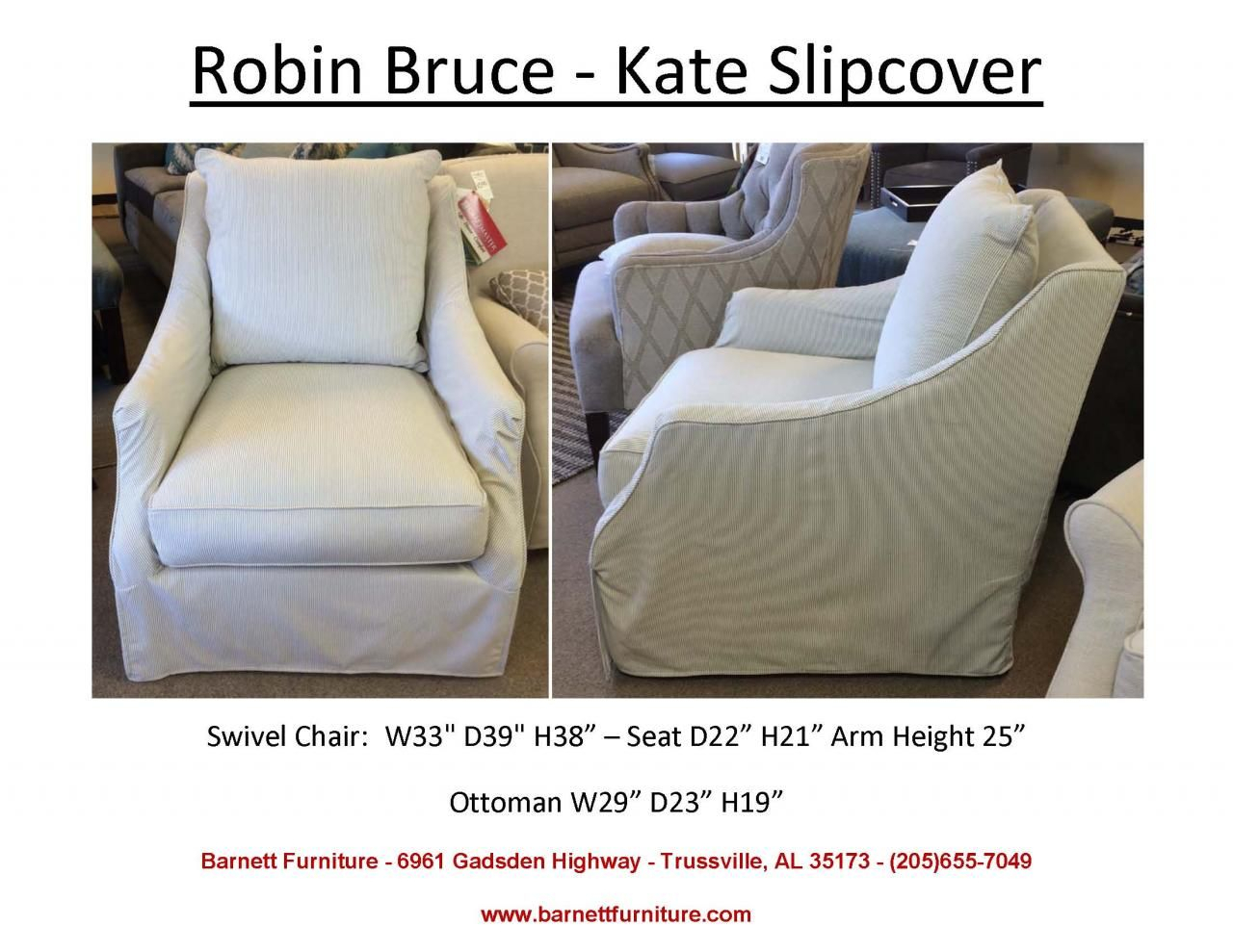 Robin Bruce Kate Slipcover Swivel Chair (Image 17 of 20)