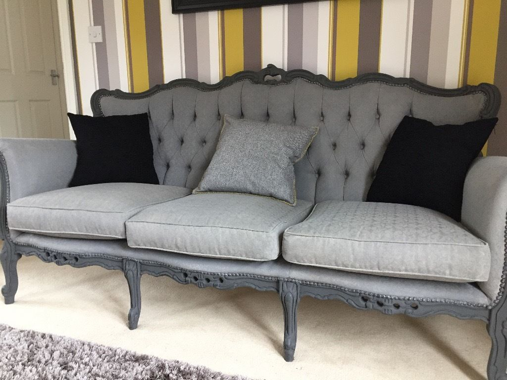 Rococo Italian Sofa – Vintage Shabby Chic In Classic Grey | In Throughout Mansfield Graphite Velvet Sofa Chairs (Image 14 of 20)