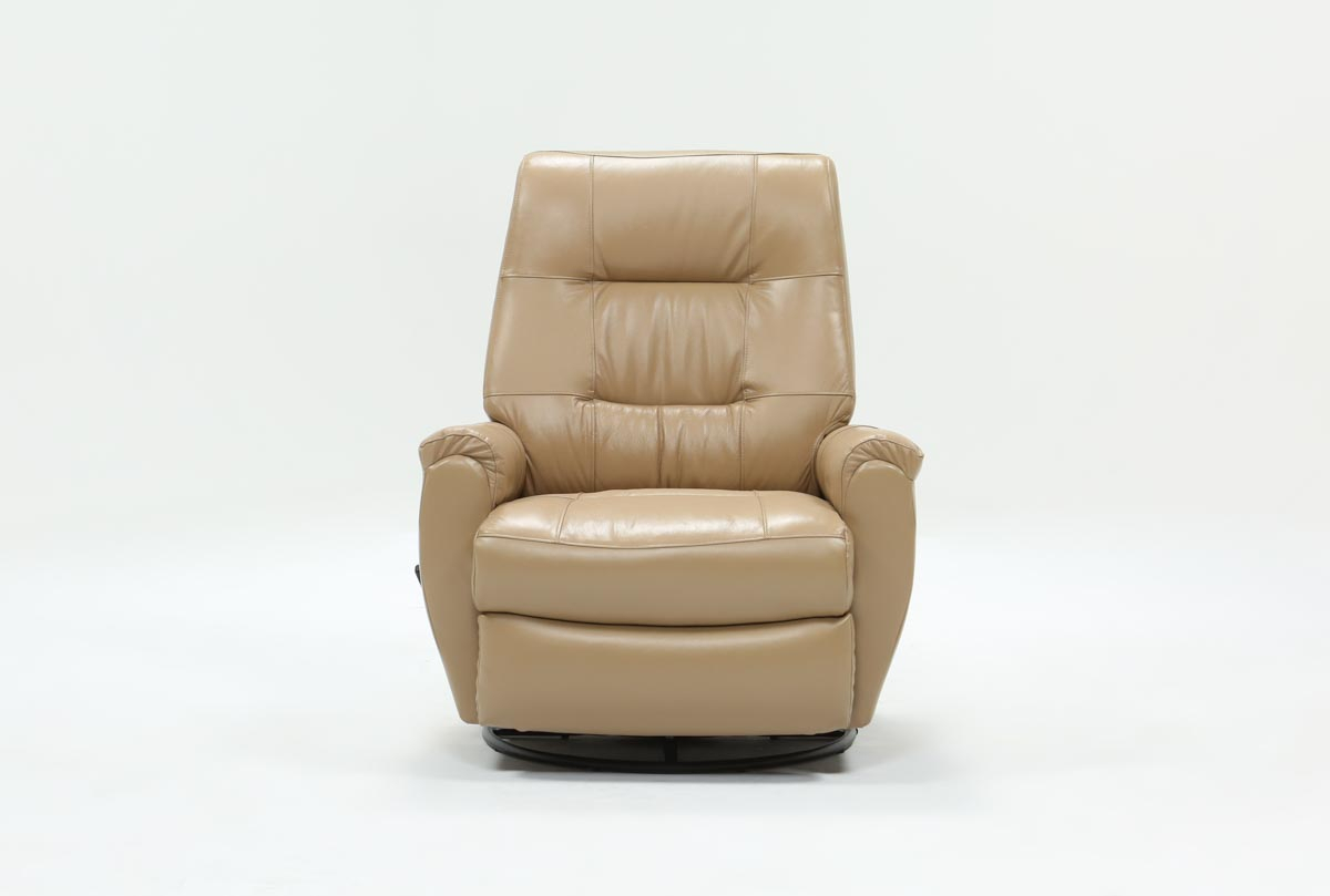 Rogan Leather Cafe Latte Swivel Glider Recliner | Living Spaces In Rogan Leather Cafe Latte Swivel Glider Recliners (Photo 1 of 20)