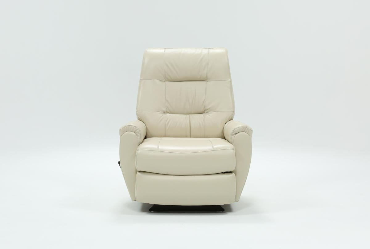 Rogan Leather Chalk Rocker Recliner | Living Spaces With Decker Ii Fabric Swivel Rocker Recliners (Image 15 of 20)