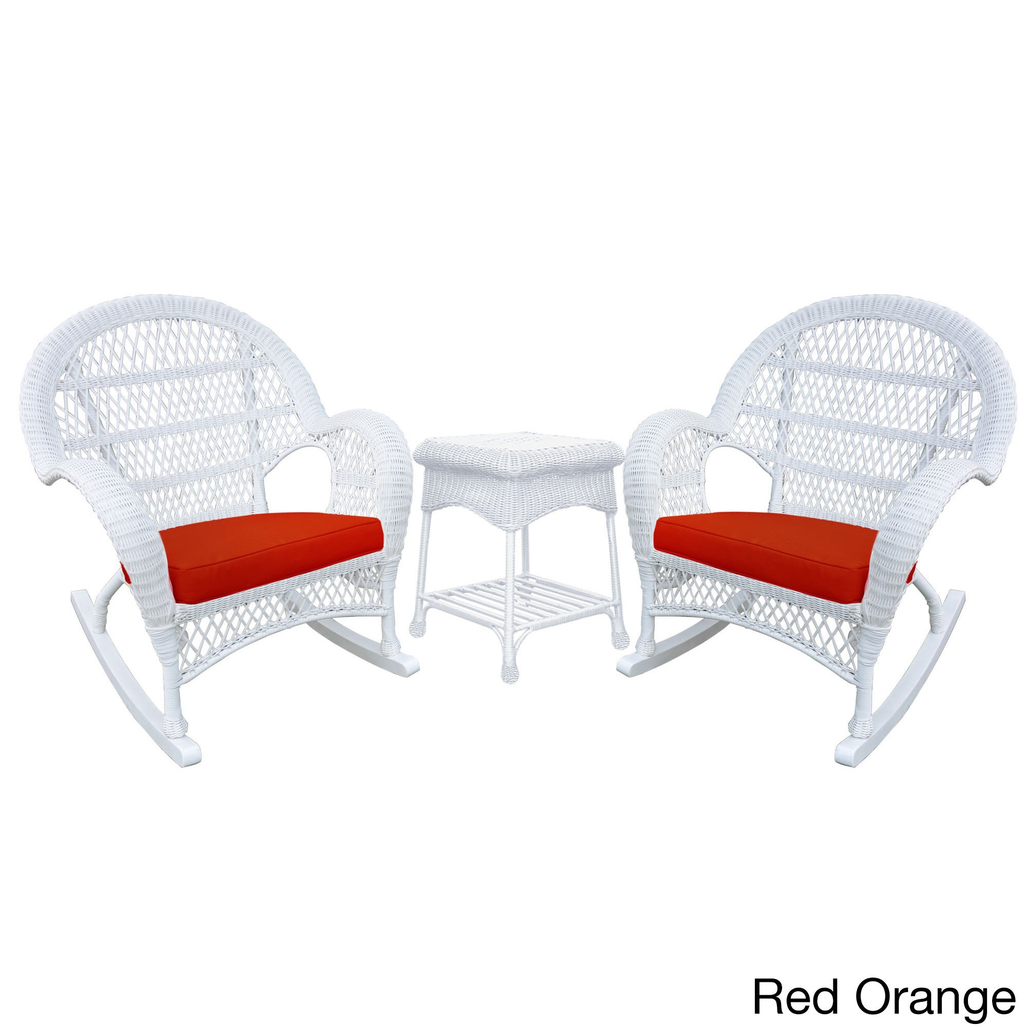 Santa Maria White Rocker Wicker Chair And End Table Set – Free Inside Mari Swivel Glider Recliners (Image 15 of 20)