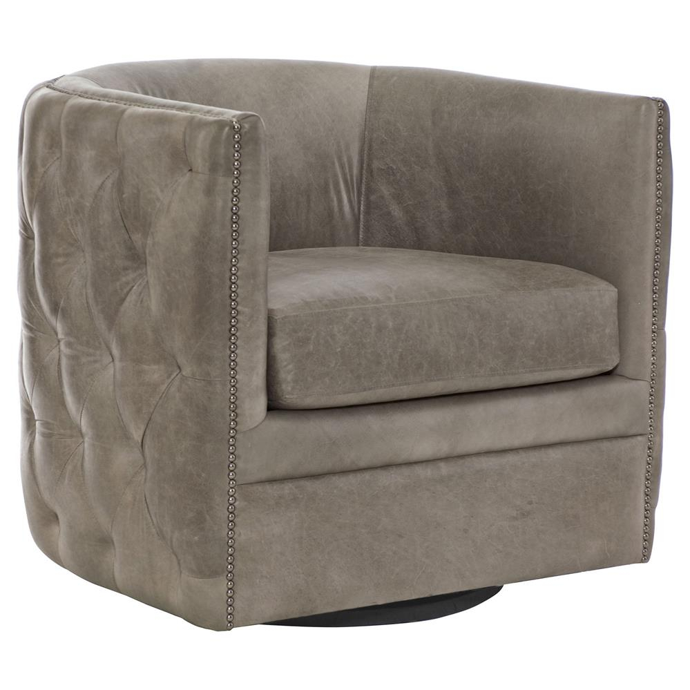 Sawyer Modern Classic Grey Leather Round Swivel Chair | Kathy Kuo Home Within Grey Swivel Chairs (Image 15 of 20)