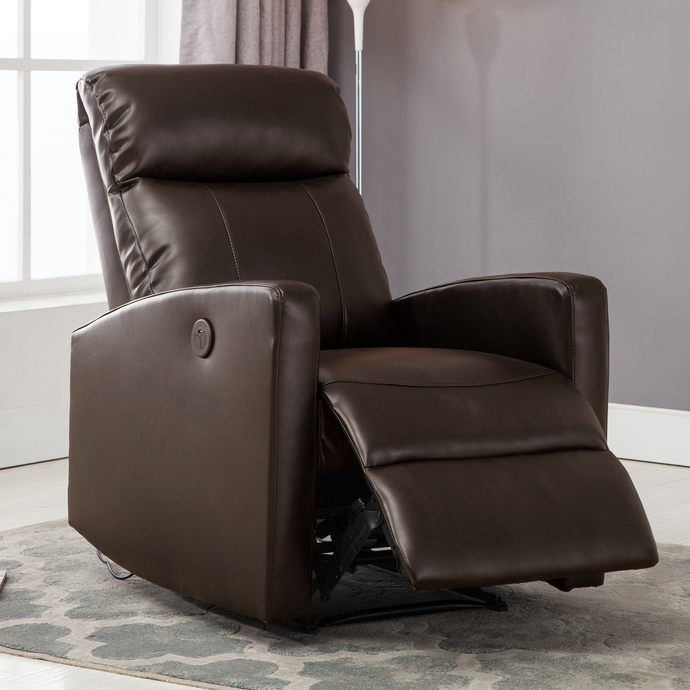 Sean Black Small Reading Power Recliner With Regard To Gannon Linen Power Swivel Recliners (Image 20 of 20)