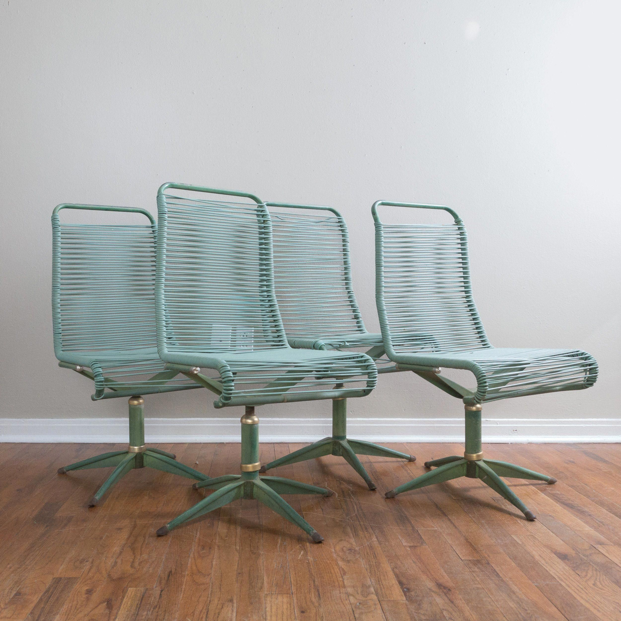 Set Of 4 Mid Century Ames Aire Green Patio Chairs Cabana Star Line With Regard To Ames Arm Sofa Chairs By Nate Berkus And Jeremiah Brent (View 8 of 20)