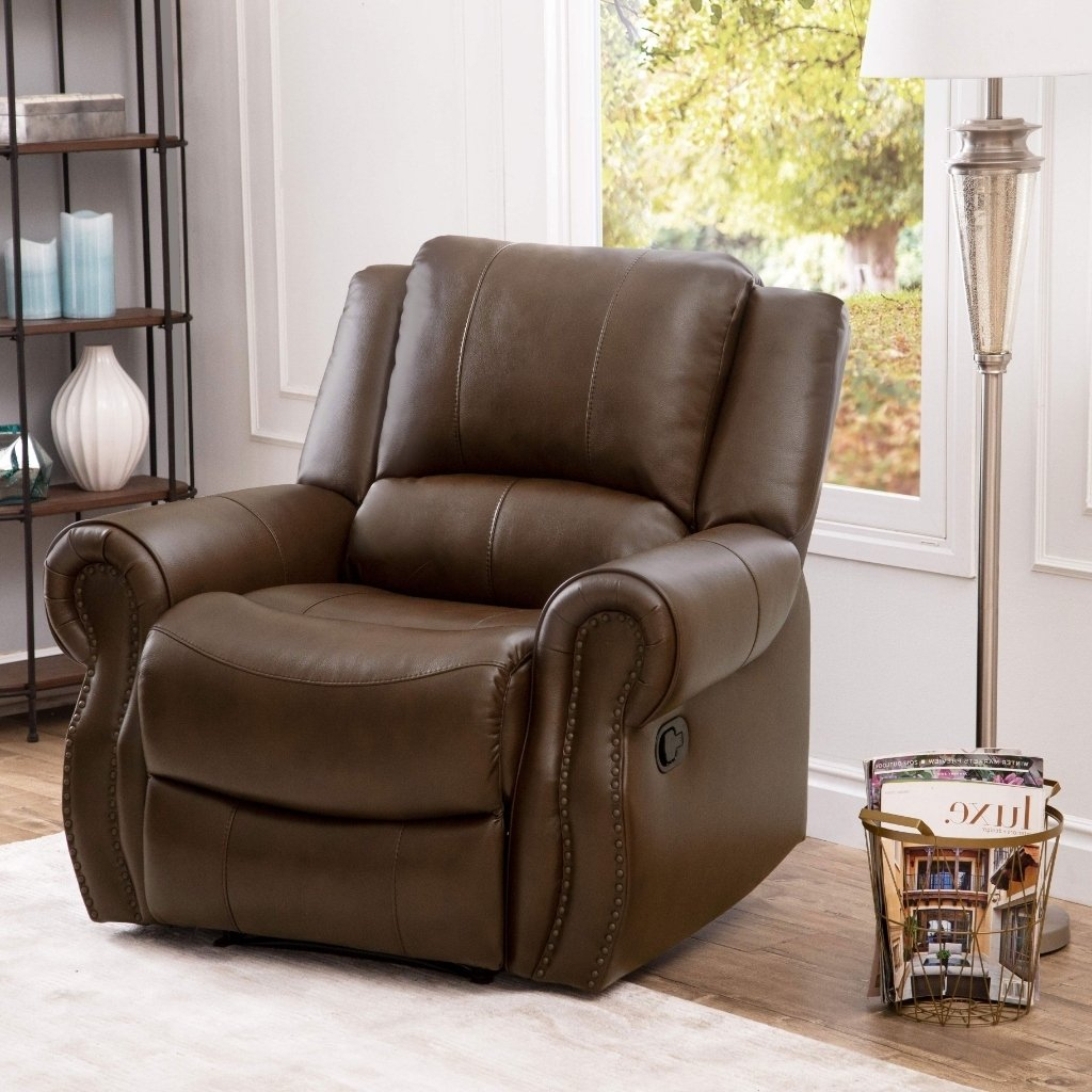 Shop Abbyson Calabasas Mesa Brown Leather Recliner – On Sale – Free Intended For Mesa Foam Oversized Sofa Chairs (Image 17 of 20)