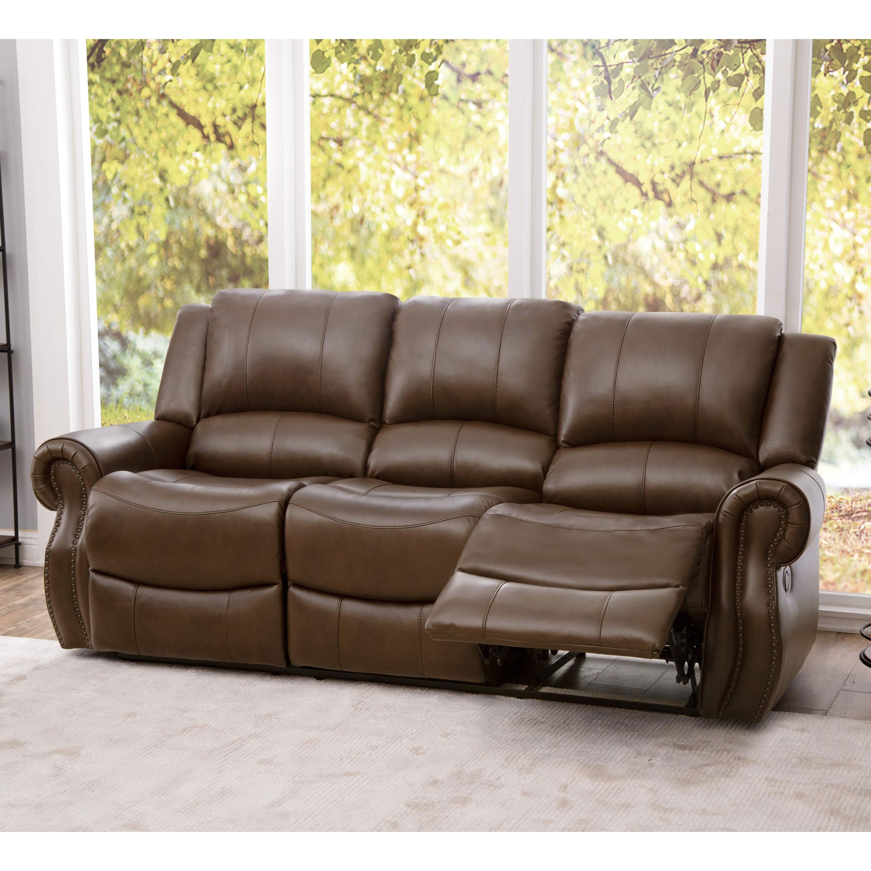 Shop Abbyson Calabasas Mesa Brown Leather Reclining Sofa – On Sale Pertaining To Mesa Foam Oversized Sofa Chairs (Image 18 of 20)