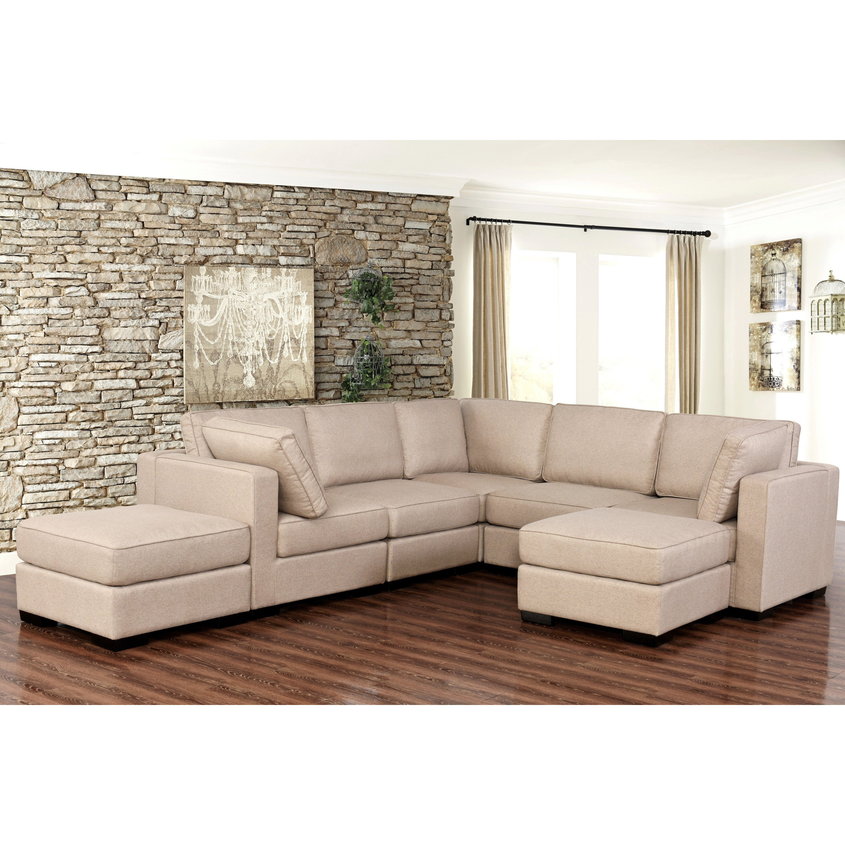 Shop Abbyson Harper Fabric Modular 7 Piece Sectional – Free Shipping In Harper Down Oversized Sofa Chairs (Image 15 of 20)
