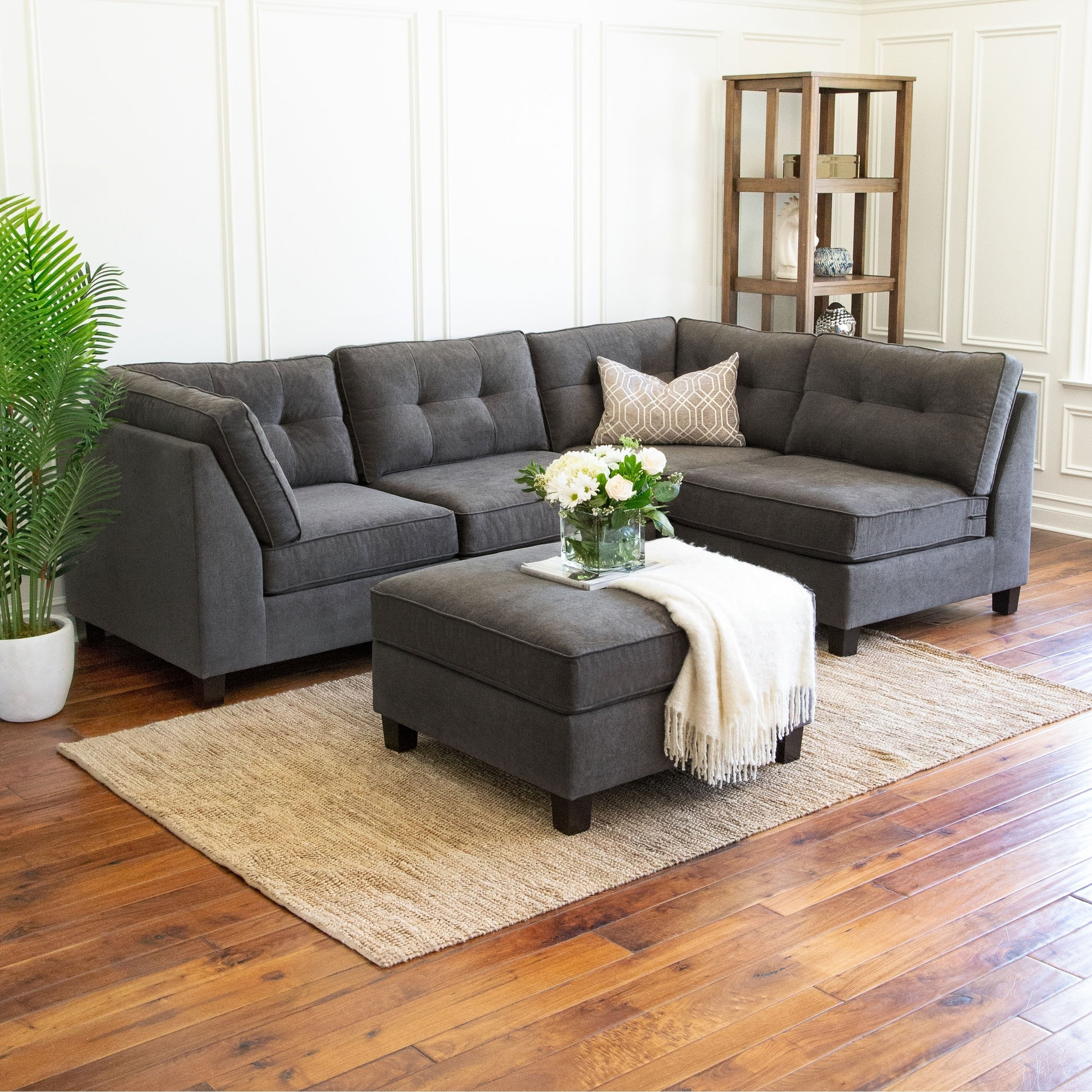 Shop Abbyson Maddox 5 Piece Modular Fabric Sectional – On Sale Throughout Maddox Oversized Sofa Chairs (Image 13 of 20)