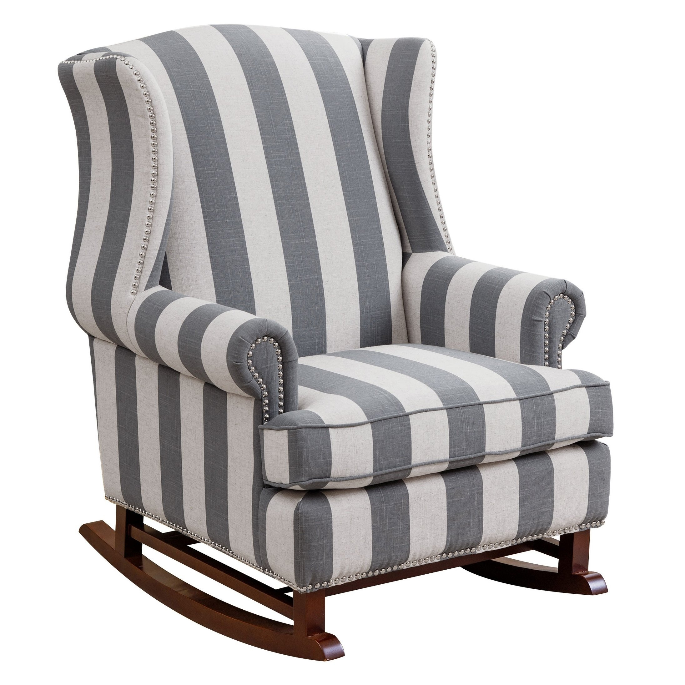 Shop Abbyson Radcliffe Two Tone Fabric Rocker Chair – On Sale – Free For Katrina Blue Swivel Glider Chairs (Image 13 of 20)