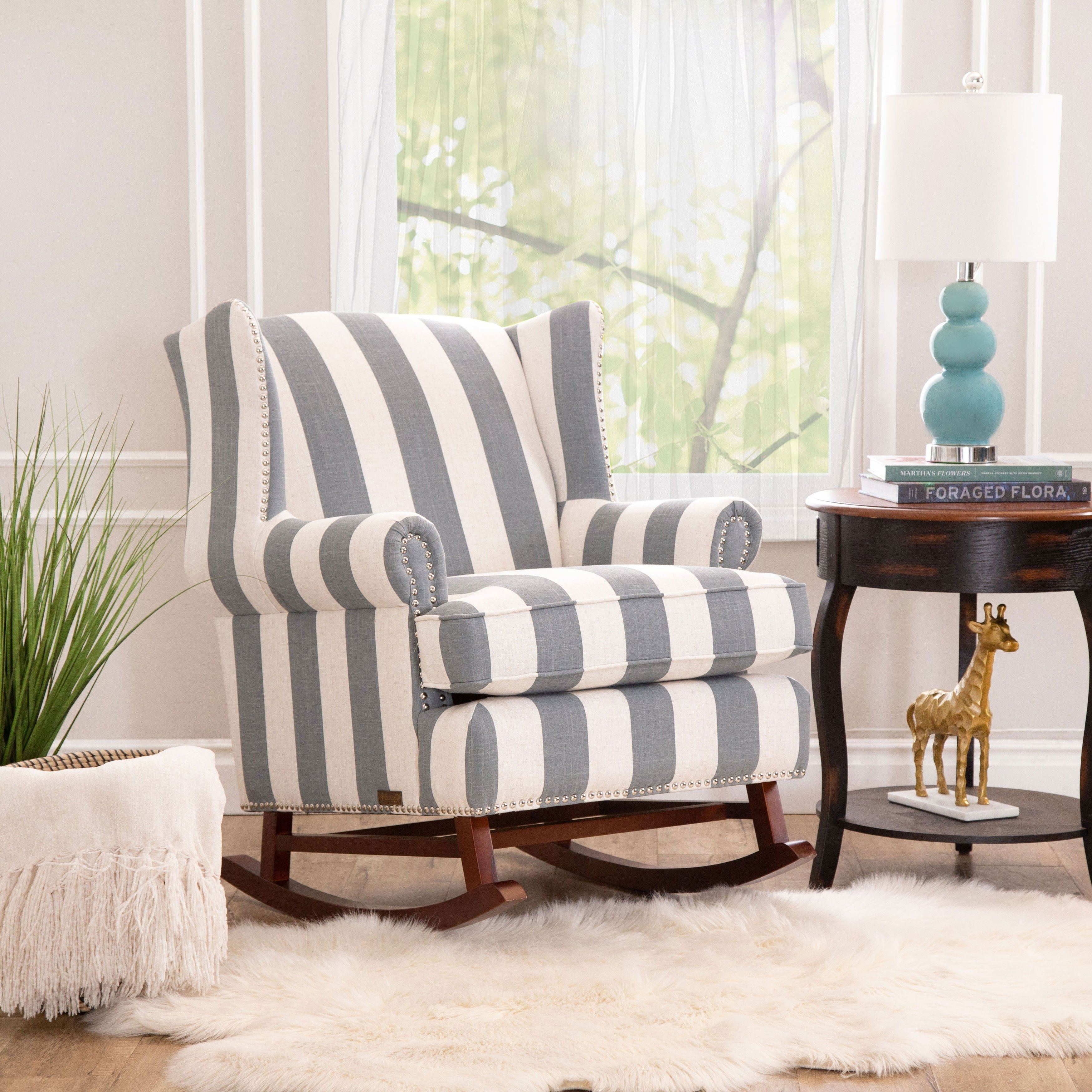 Shop Abbyson Radcliffe Two Tone Fabric Rocker Chair – On Sale – Free With Katrina Blue Swivel Glider Chairs (Image 14 of 20)
