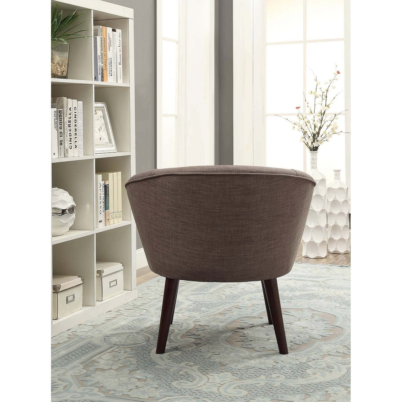 Shop Acme Amari Accent Chair In Stone Gray Linen – Free Shipping Regarding Amari Swivel Accent Chairs (View 9 of 20)