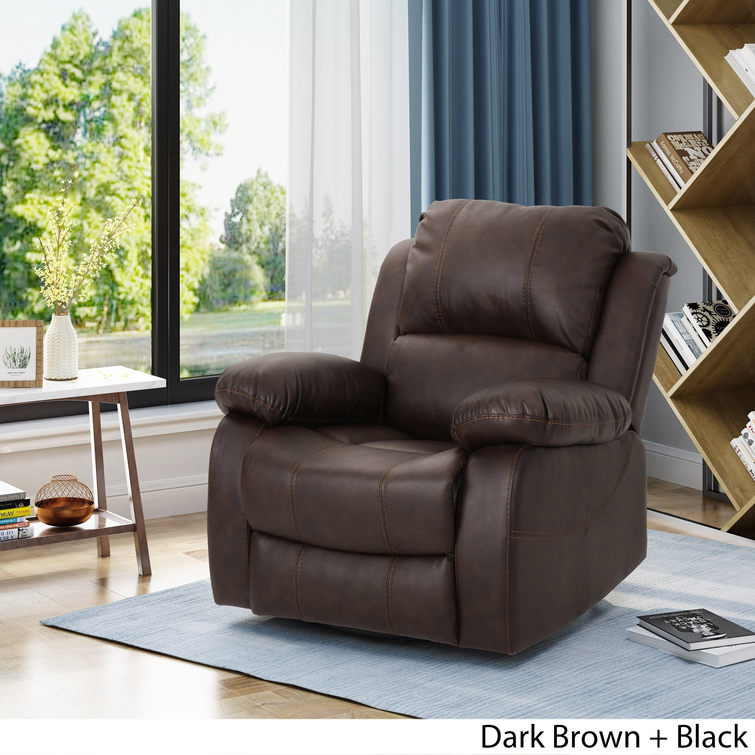 Shop Alianna Classic Leather Gliding Swivel Recliner Club Chair With Regard To Outdoor Koro Swivel Chairs (View 9 of 20)