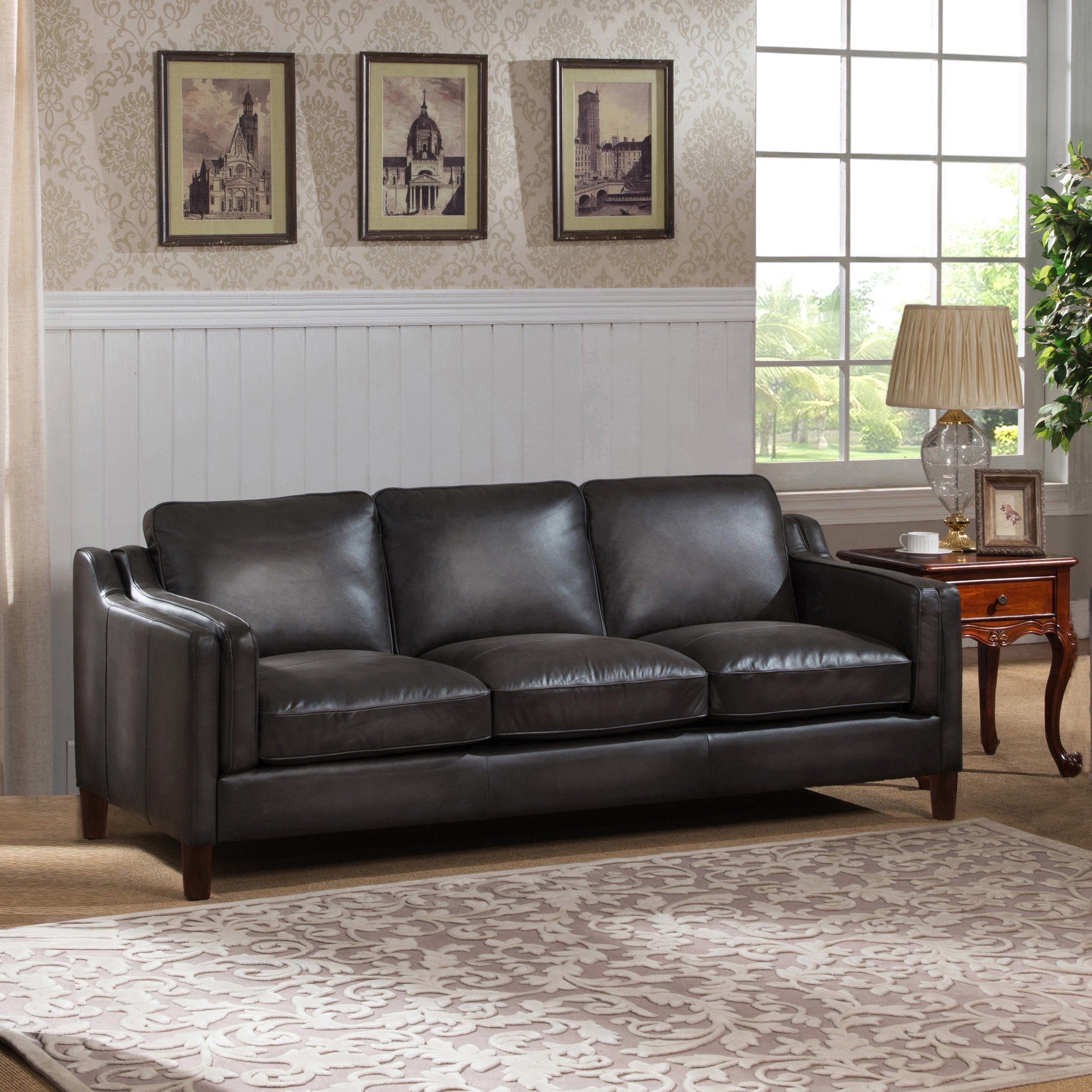 Shop Ames Premium Hand Rubbed Grey Top Grain Leather Sofa And Chair Intended For Ames Arm Sofa Chairs (Image 13 of 20)