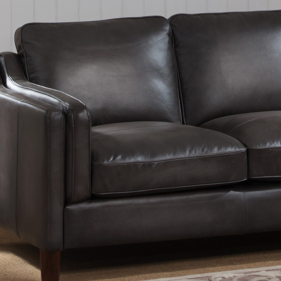 Shop Ames Premium Hand Rubbed Grey Top Grain Leather Sofa And Inside Ames Arm Sofa Chairs (View 6 of 20)