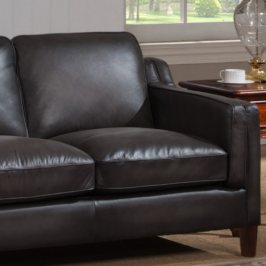 Shop Ames Premium Hand Rubbed Grey Top Grain Leather Sofa And With Regard To Ames Arm Sofa Chairs (Image 17 of 20)