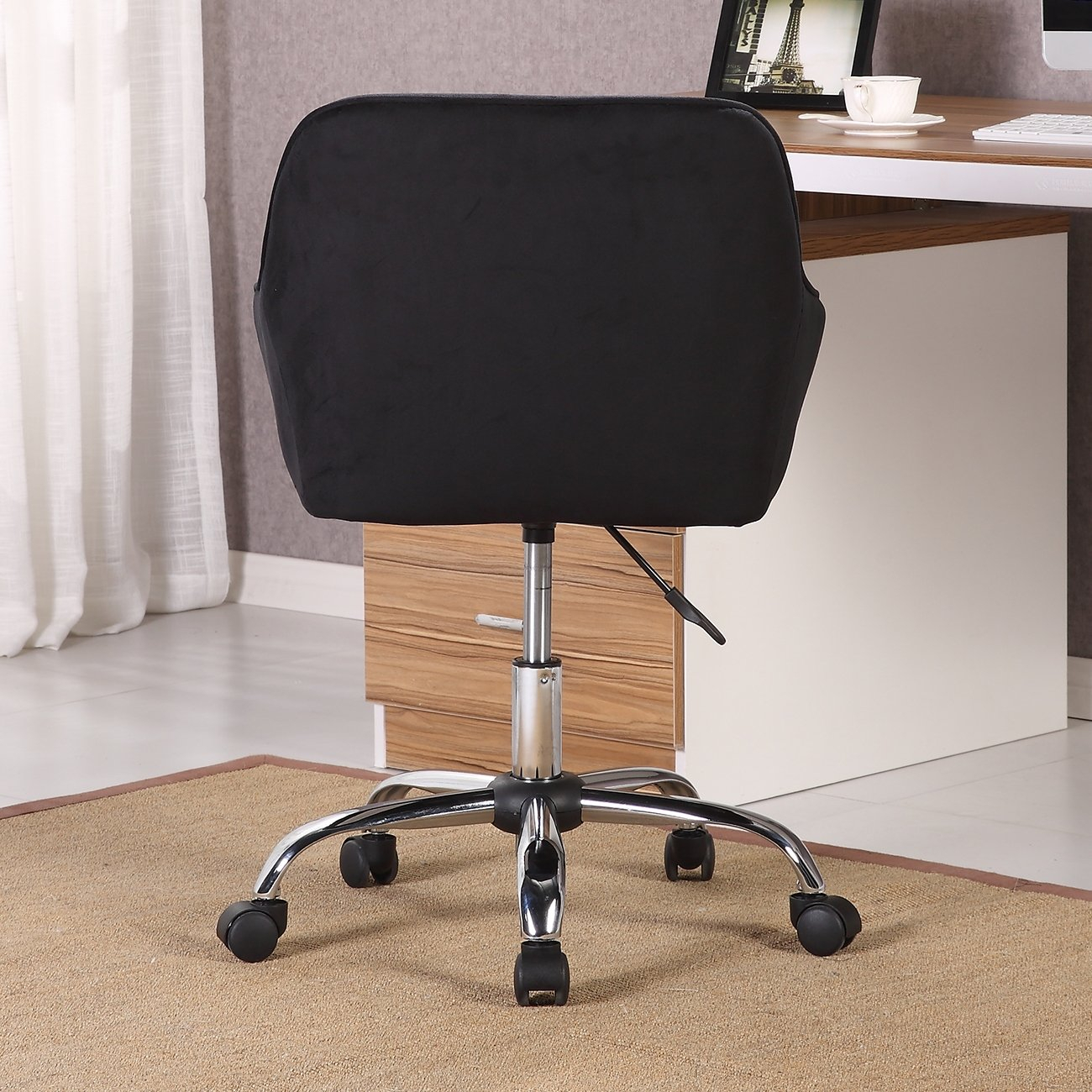 Shop Belleze Modern Office Chair Task Desk Adjustable Swivel Height In Katrina Blue Swivel Glider Chairs (Image 15 of 20)