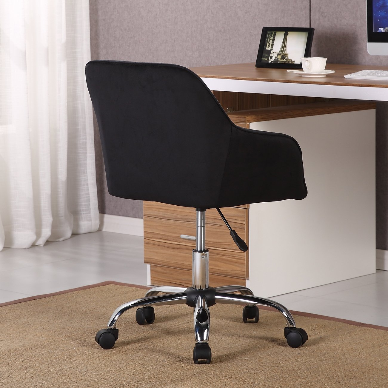 Shop Belleze Modern Office Chair Task Desk Adjustable Swivel Height Inside Katrina Blue Swivel Glider Chairs (Image 16 of 20)