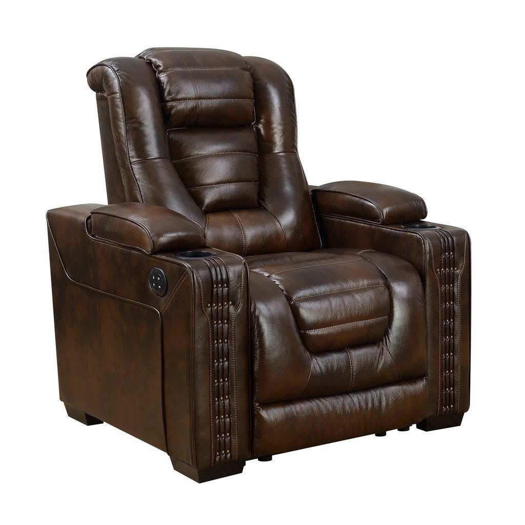 Shop Bowman Leather Recliner Chair With Articulating Headrest – Free For Dale Iii Polyurethane Swivel Glider Recliners (Image 16 of 20)