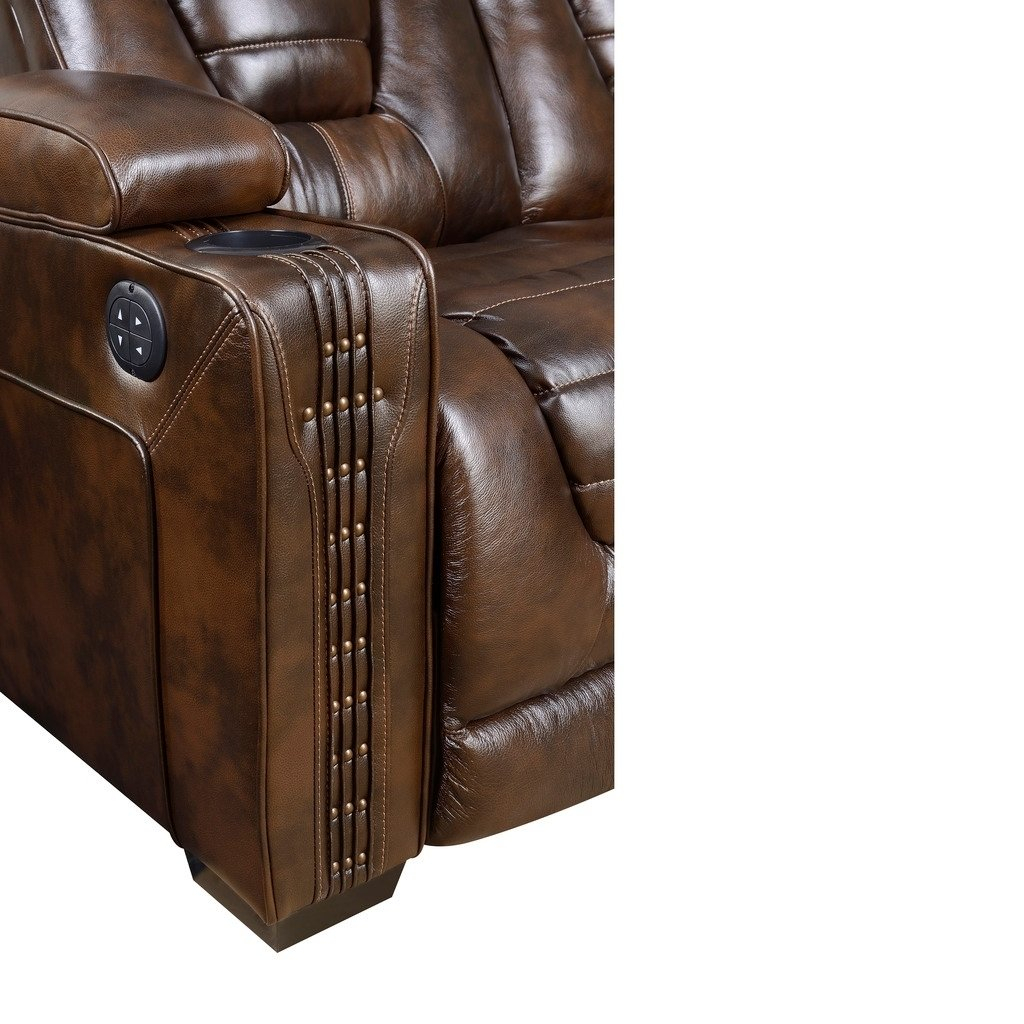 Shop Bowman Leather Recliner Chair With Articulating Headrest – Free In Dale Iii Polyurethane Swivel Glider Recliners (Image 18 of 20)