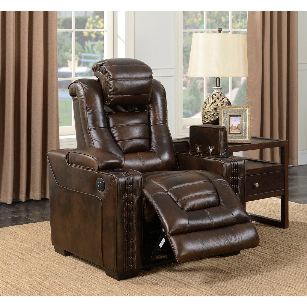 Shop Bowman Leather Recliner Chair With Articulating Headrest – Free In Dale Iii Polyurethane Swivel Glider Recliners (Image 17 of 20)